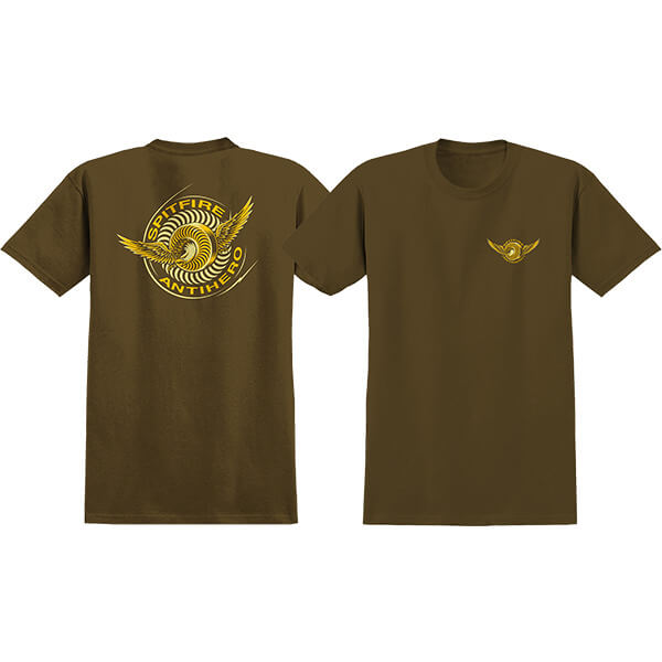 Spitfire Wheels x Anti Hero Classic Eagle Coffee Brown Men's Short Sleeve T-Shirt - X-Large