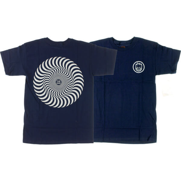 Spitfire Wheels Classic Swirl Navy / Grey Men's Short Sleeve T-Shirt - Small