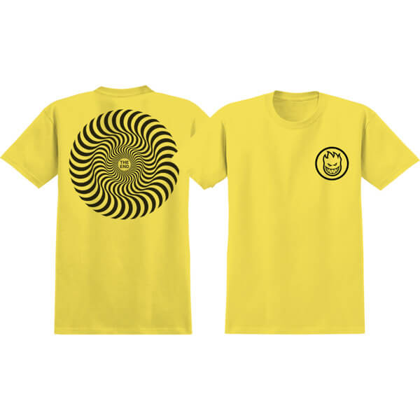 Spitfire Wheels Classic Swirl Yellow / Black Men's Short Sleeve T-Shirt - Large