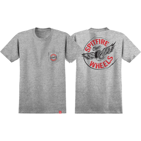 Spitfire Wheels Pocket Flying Classic Athletic Heather / Red / Black Men's Short Sleeve T-Shirt - Small