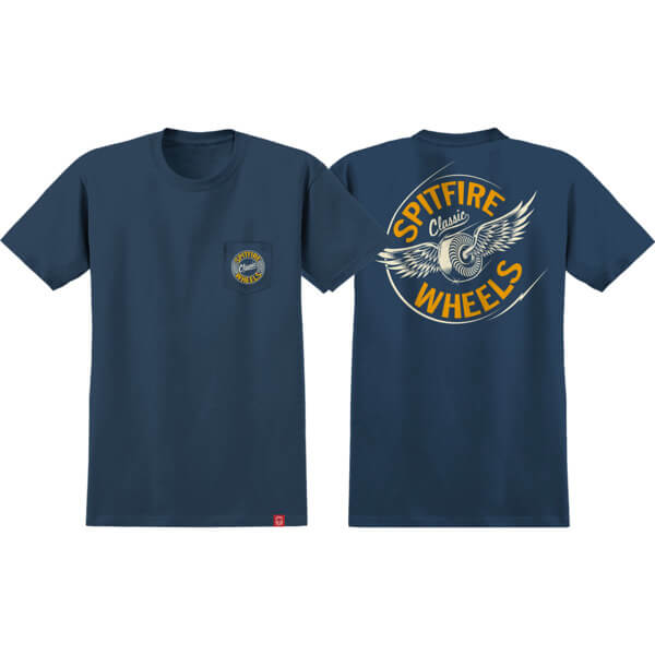 Spitfire Wheels Flying Classic Pocket Navy / Yellow Men's Short Sleeve T-Shirt - Medium