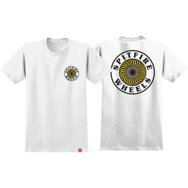 Spitfire Wheels OG Circle White / Yellow / Red Men's Short Sleeve T-Shirt - Small