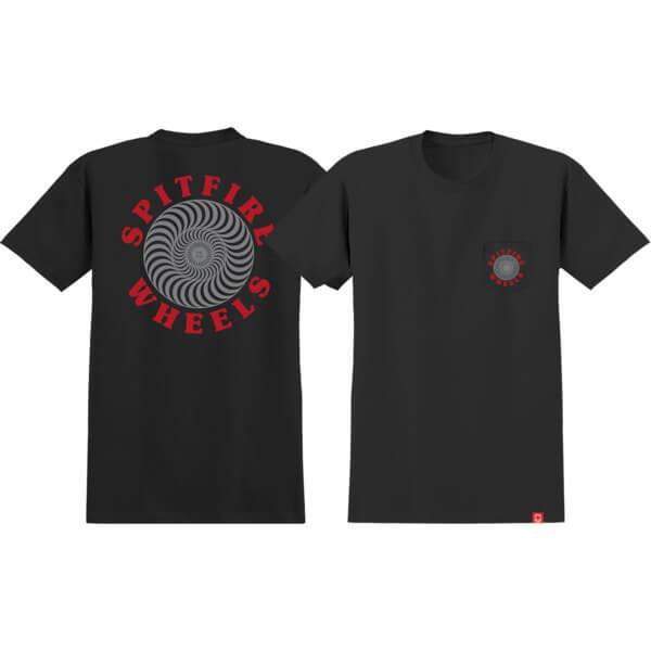 Spitfire Wheels OG Classic Black / Grey / Red Short Sleeve Pocket T-Shirts - X-Large