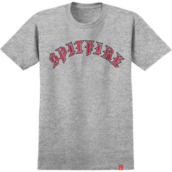 Spitfire Wheels Old E Fill Athletic Heather / Red Men's Short Sleeve T-Shirt - Small