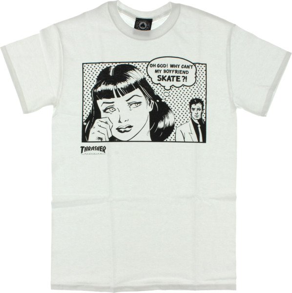 Thrasher Magazine Boyfriend White Men's Short Sleeve T-Shirt - Small