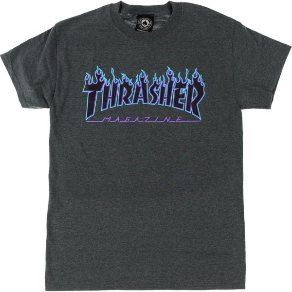 Thrasher Magazine Flame Dark Grey Heather / Blue Men's Short Sleeve T-Shirt - Medium