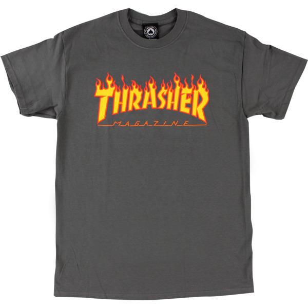 Thrasher Magazine Flame Grey Men's Short Sleeve T-Shirt - Large