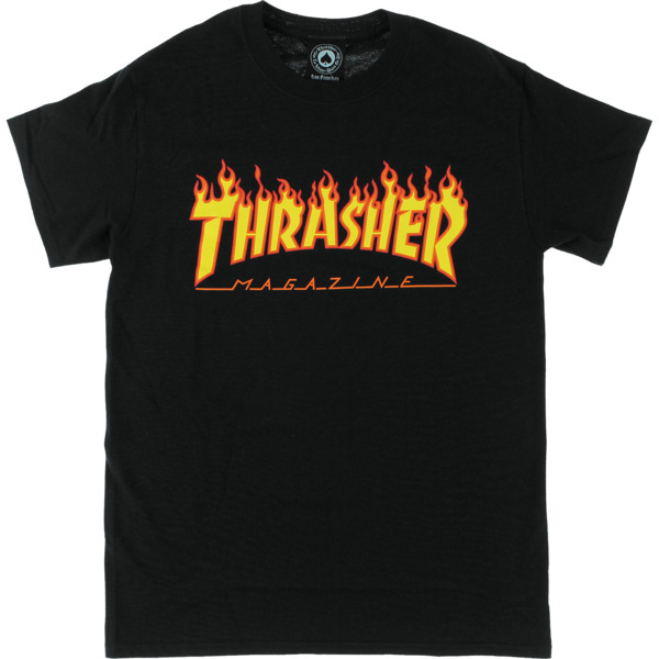 Thrasher Magazine Flame Black Men's Short Sleeve T-Shirt - Large