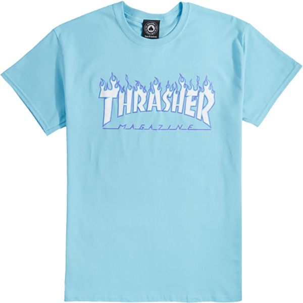 9c9418bc217f Thrasher Magazine Flame Sky Blue with Purple / White Men's Short Sleeve T- Shirt - Large - Warehouse Skateboards