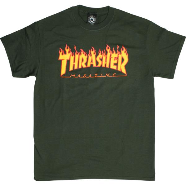 Thrasher Magazine Flame Forest Green Men's Short Sleeve T-Shirt - Large