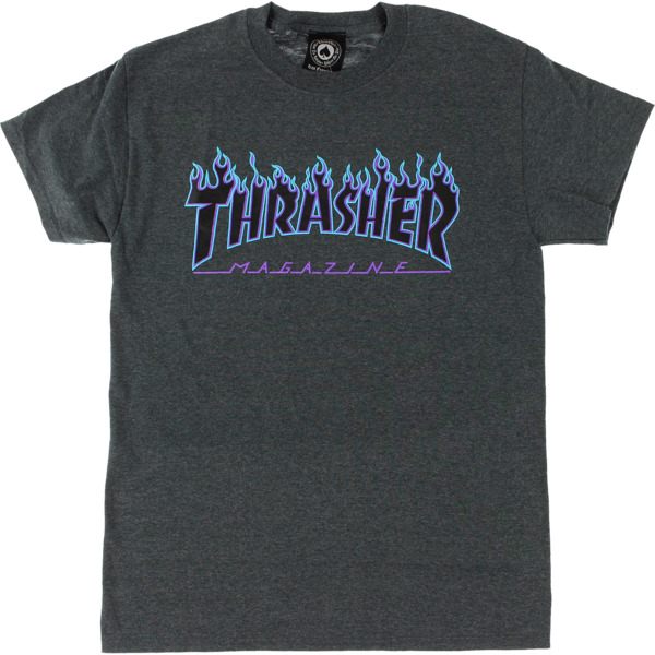 Thrasher Magazine Flame Dark Grey Heather / Blue Men's Short Sleeve T-Shirt - Large