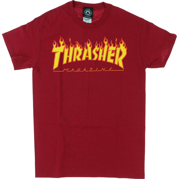 Thrasher Magazine Flame Cardinal Red Men's Short Sleeve T-Shirt - Large