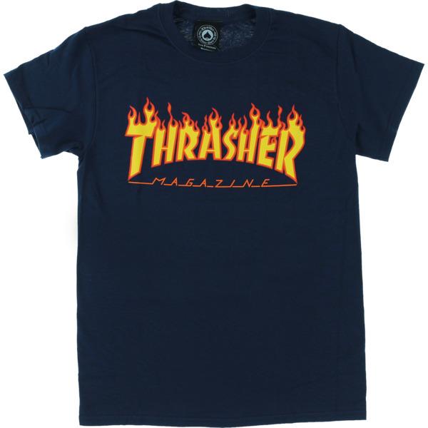 Thrasher Magazine Flame Navy Men's Short Sleeve T-Shirt - X-Large