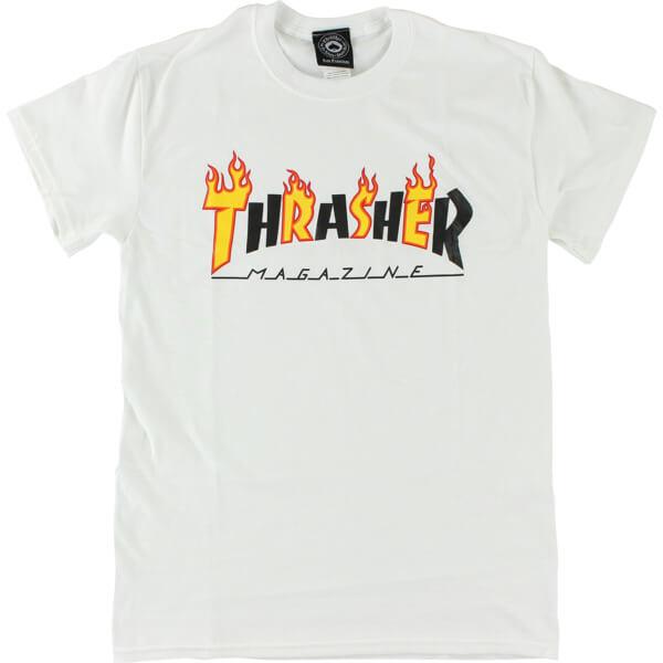 Thrasher Magazine Flame Mag White Men s Short Sleeve T-Shirt - Large -  Warehouse Skateboards e723caf04