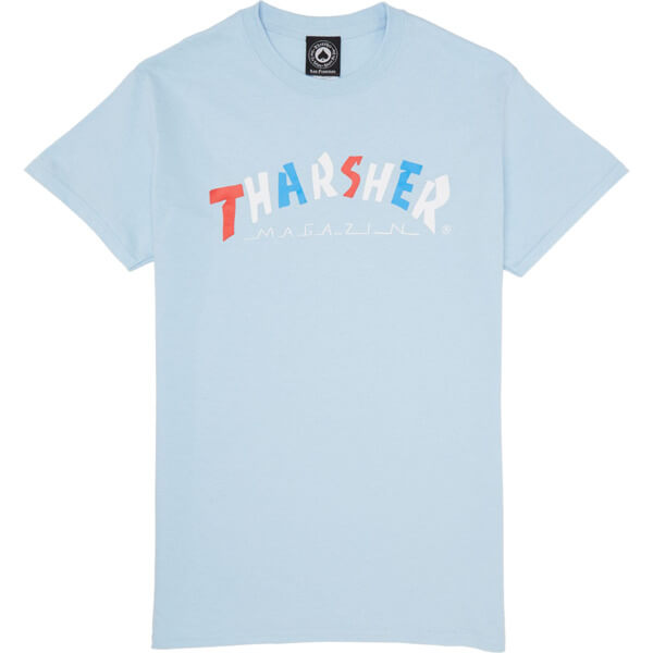 e2e37e25 Thrasher Magazine Knock Off Lite Blue Men's Short Sleeve T-Shirt - Small -  Warehouse Skateboards