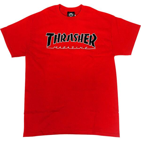8b1c064f96bc Thrasher Magazine Outline Red w/ White / Black Men's Short Sleeve T-Shirt -  X-Large - Warehouse Skateboards