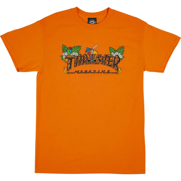 8600d6b3 Thrasher Magazine Tiki Safety Orange Men's Short Sleeve T-Shirt - Medium -  Warehouse Skateboards
