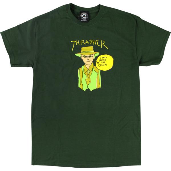 Thrasher Magazine Mark Gonzales Cash Forest Green Men's Short Sleeve T-Shirt - Medium