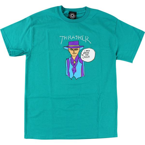 Thrasher Magazine Mark Gonzales Cash Jade Green Men's Short Sleeve T-Shirt - X-Large