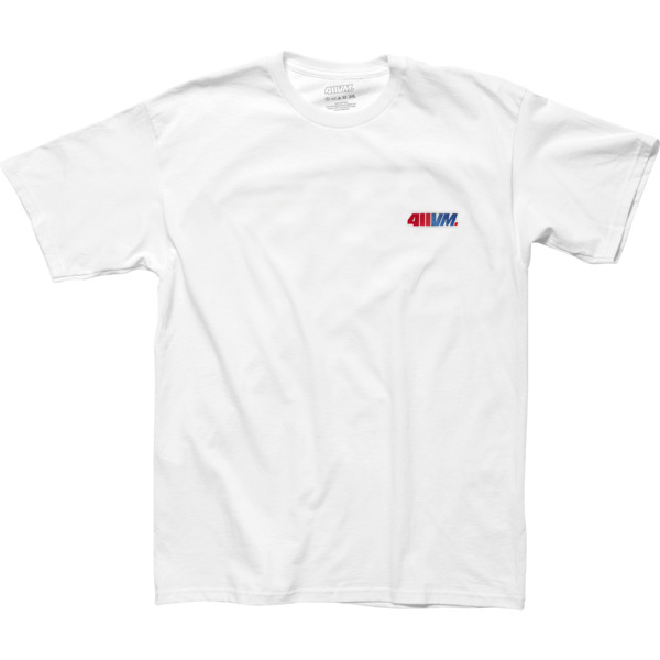 Transworld Skateboarding 411VM White Embroidered Short Sleeve T-Shirt - Small