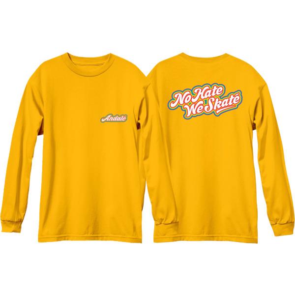 Andale Bearings No Hate We Skate Rainbow Logo Gold Men's Long Sleeve T-Shirt - Small