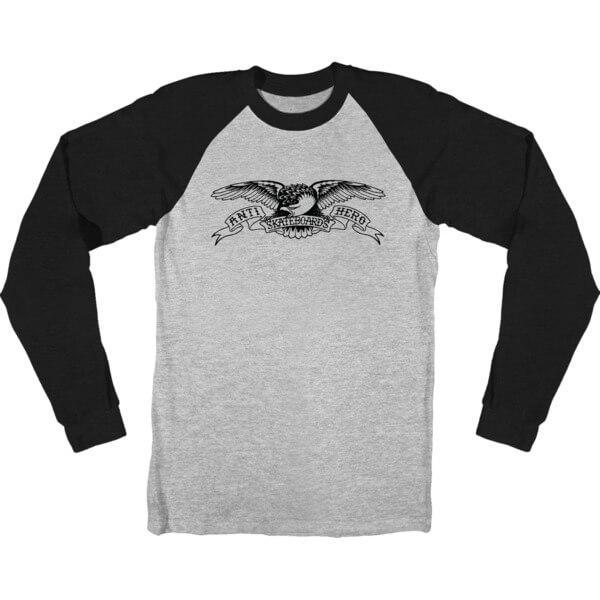 f5c82e7144 Anti Hero Skateboards Basic Eagle Athletic Heather   Black Long Sleeve T- Shirt - X-Large - Warehouse Skateboards
