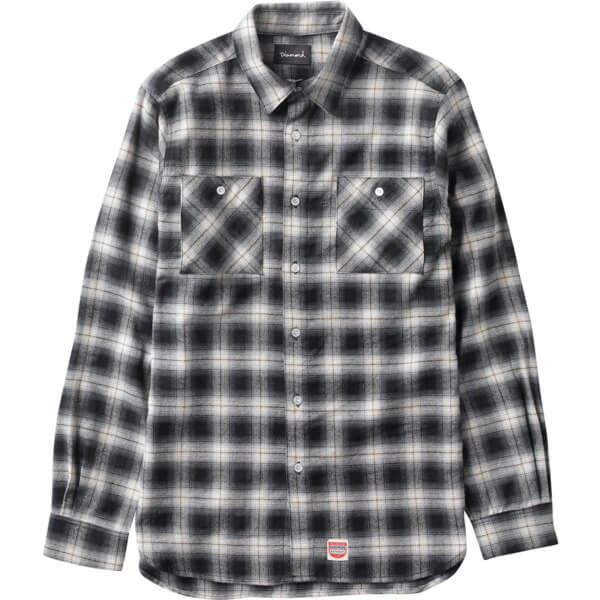Diamond Supply Co Ombre Plaid Black Long Sleeve Flannel