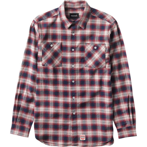 Diamond Supply Co Ombre Plaid Red Long Sleeve Flannel Button Up - X-Large