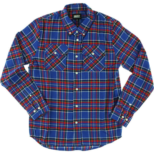 Grizzly Grip Tape Tundra Blue Plaid Long Sleeve Button Up - X-Large