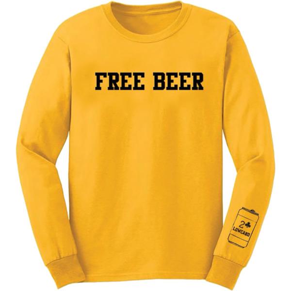 Lowcard Mag Free Beer Yellow Men's Long Sleeve T-Shirt - Medium