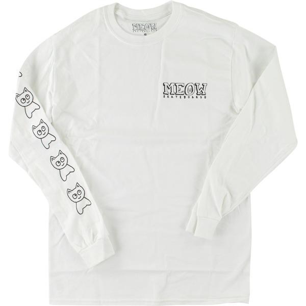 Meow Skateboards Big Cat White Men's Long Sleeve T-Shirt - Medium