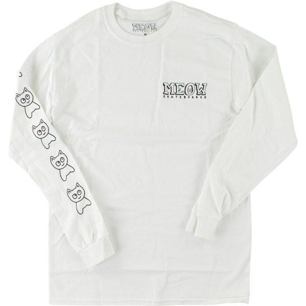 Meow Skateboards Big Cat White Men's Long Sleeve T-Shirt - Large