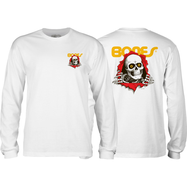 Powell Peralta Ripper White Men's Long Sleeve T-Shirt - Small