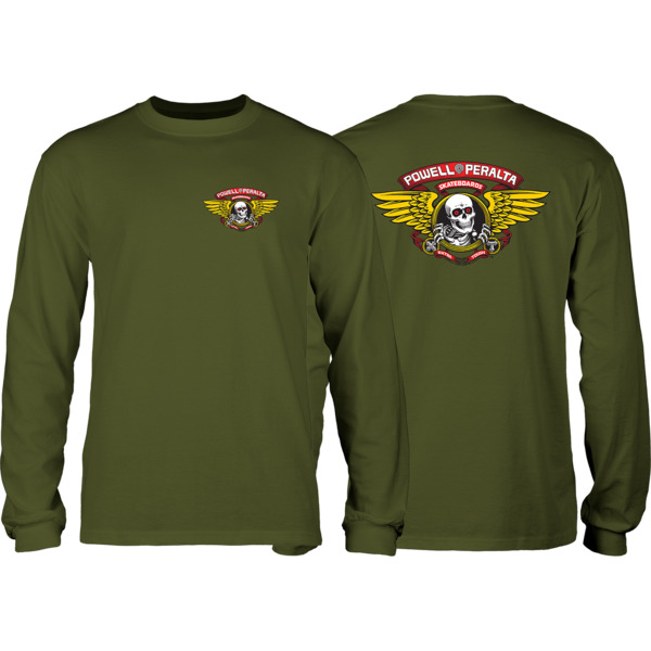 Powell Peralta Winged Ripper Military Green Men's Long Sleeve T-Shirt - Small