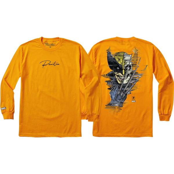 Primitive Skateboarding Wolverine Gold Men's Long Sleeve T-Shirt - Small