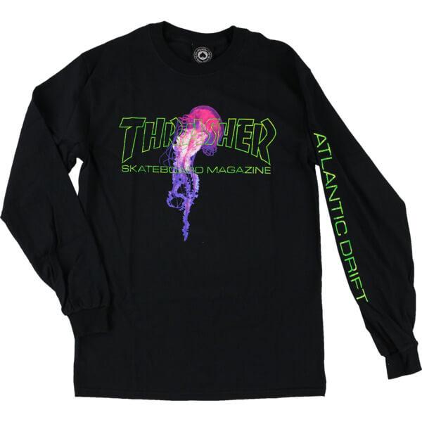57ae7a967 Thrasher Magazine Atlantic Drift Black Men's Long Sleeve T-Shirt - X-Large  - Warehouse Skateboards