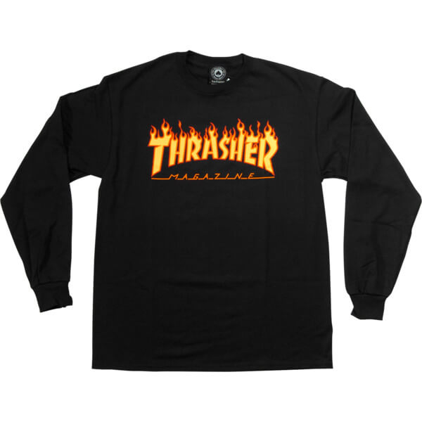 Thrasher Magazine Flames Mens Long Sleeve T-Shirt