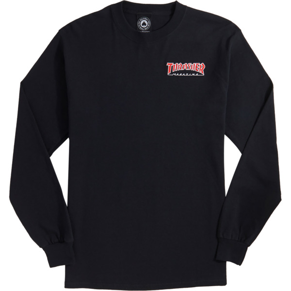 07ad8d02df0f Thrasher Magazine Outlined Embroider Black Men's Long Sleeve T-Shirt -  Small - Warehouse Skateboards