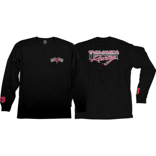 Thrasher Magazine Racing Black / Red Men's Long Sleeve T-Shirt - Medium