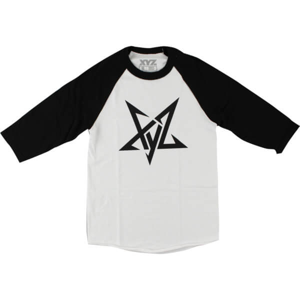 XYZ Clothing Pentagram Raglan White 3/4 Sleeve T-Shirt - Large