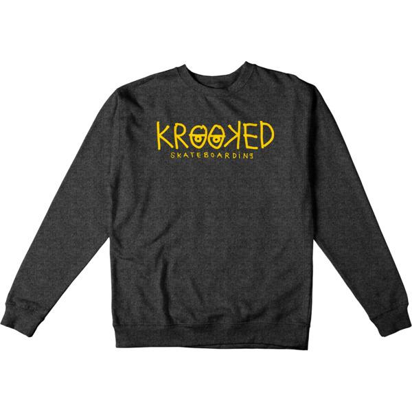 Krooked Skateboards Krooked Eyes Charcoal Heather Men's Crew Neck Sweatshirt - Small
