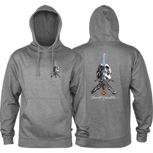Powell Peralta Skull & Sword Gunmetal Heather Men's Hooded Sweatshirt - Small