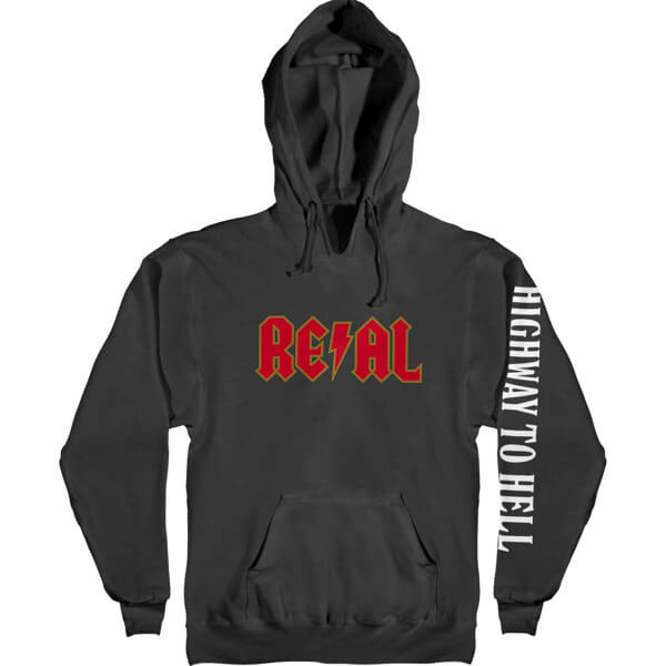 Real Skateboards Deeds Highway 2 Hell Black Men's Hooded Sweatshirt - Small