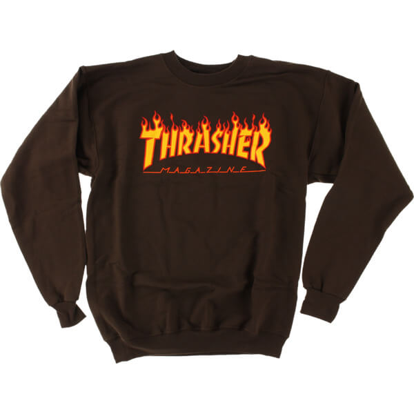 0e269798a1cf Thrasher Magazine Flame Logo Brown Crew Neck Sweatshirt - Small - Warehouse  Skateboards