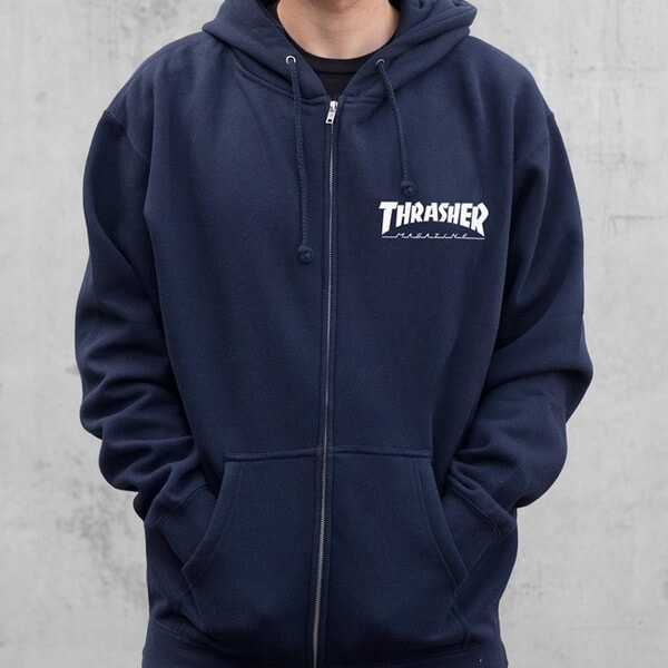 Trasher Magazine Logo Navy Blue Zip-Up Hooded Sweatshirt - Medium -  Warehouse Skateboards 9bee06973a8