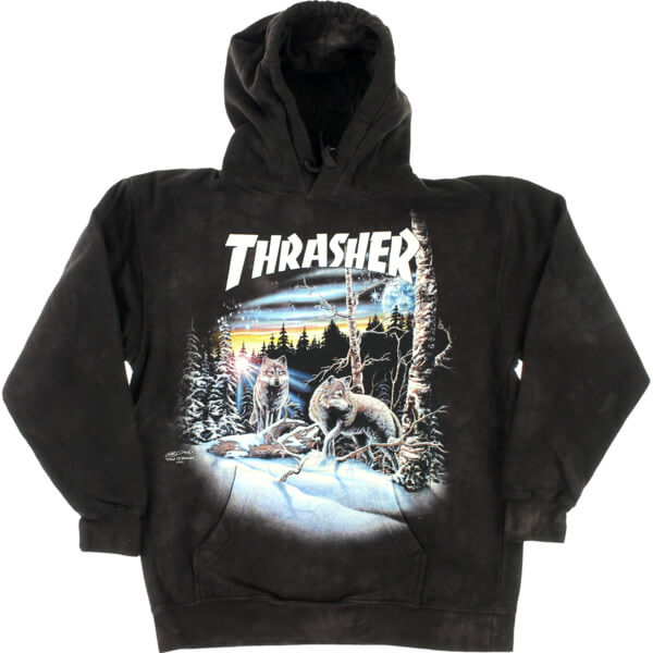 Thrasher Magazine 13 Wolves Black Tie Dye Hooded