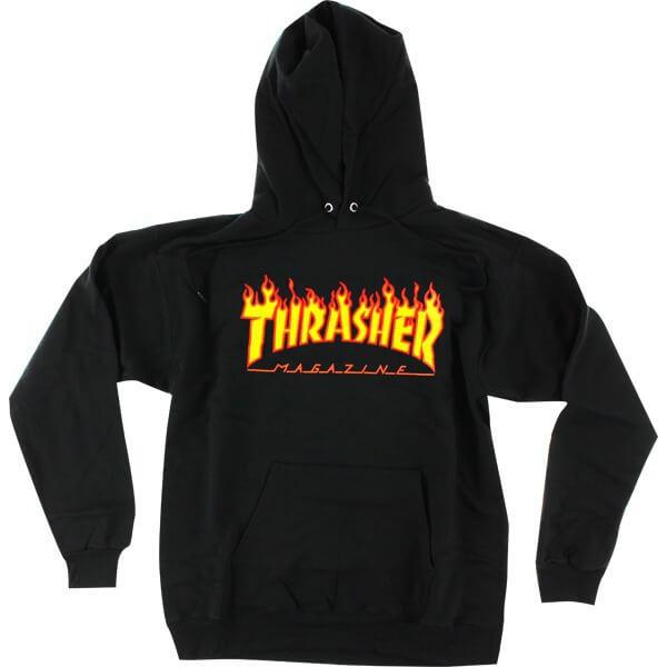 Thrasher Magazine Flames Black Men's Hooded Sweatshirt - X-Large