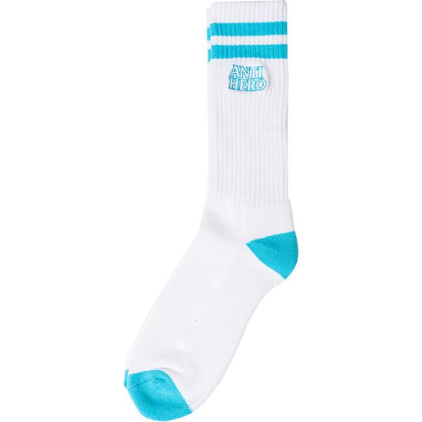Anti Hero Skateboards Black Hero Outline White / Light Blue Crew Socks - One size fits most