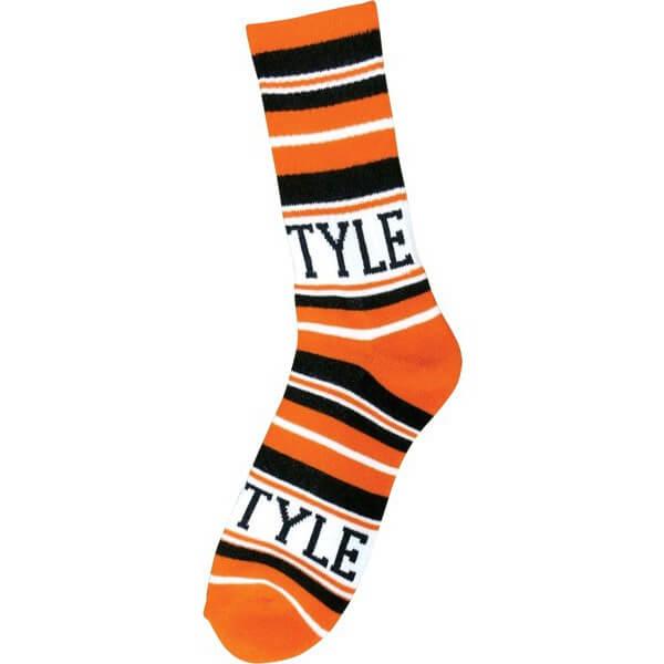 Bro Style Skateboards Home Team Orange / Black Crew Socks - One size fits most