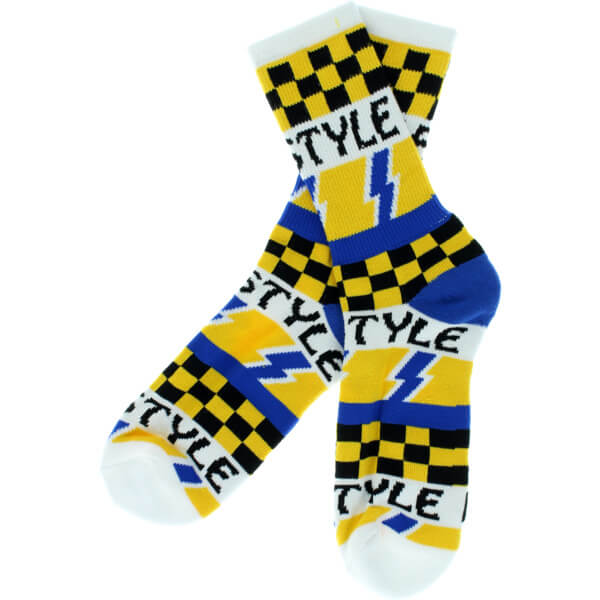 Bro Style Skateboards Lightening Bolt White Crew Socks - One size fits most